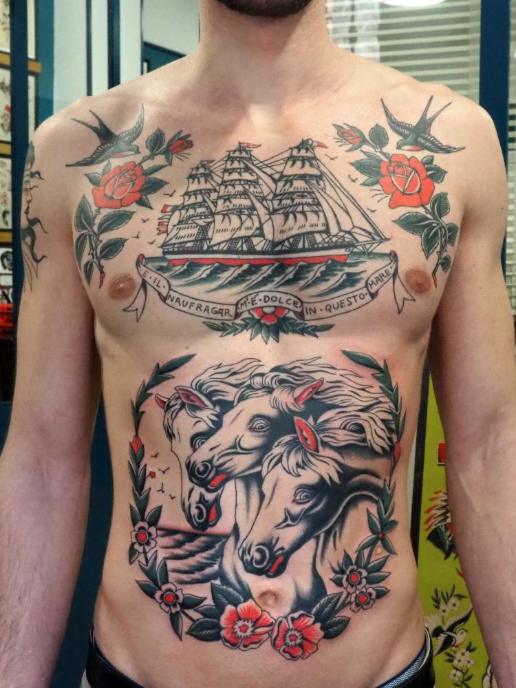 Cavalli del faraone - Veliero tattoo - traditional tattoo - old school tattoo - Bowery Classic Tattoo Legnano